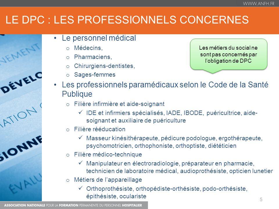 LE DPC : LES PROFESSIONNELS CONCERNES