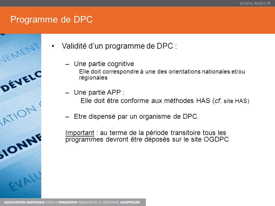Programme de DPC Validité d'un programme de DPC : Une partie cognitive
