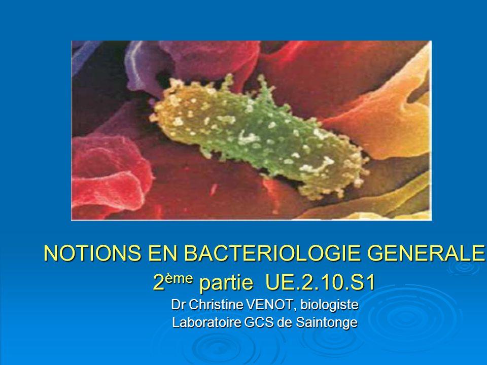 NOTIONS EN BACTERIOLOGIE GENERALE 2ème partie UE.2.10.S1