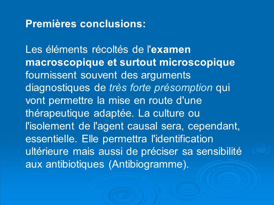 Premières conclusions: Les éléments récoltés de l examen macroscopique et surtout microscopique fournissent souvent des arguments diagnostiques de très forte présomption qui vont permettre la mise en route d une thérapeutique adaptée.