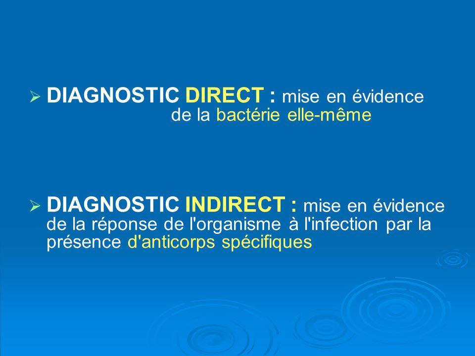 DIAGNOSTIC DIRECT : mise en évidence de la bactérie elle-même