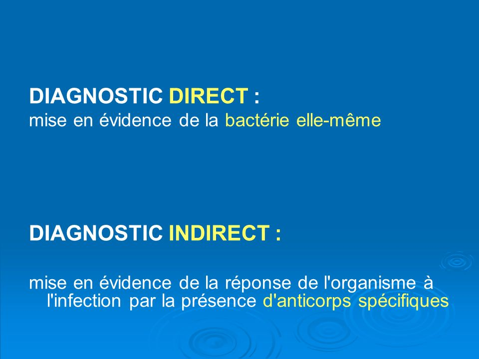 DIAGNOSTIC DIRECT : DIAGNOSTIC INDIRECT :
