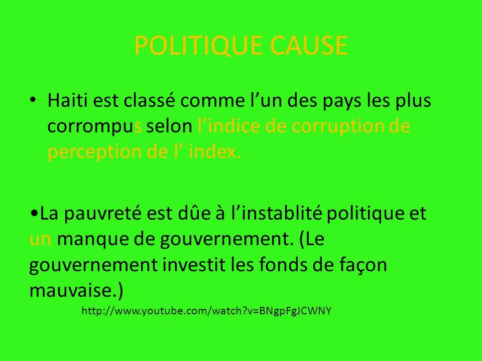 POLITIQUE CAUSE Haiti est classé comme l'un des pays les plus corrompus selon l'indice de corruption de perception de l' index.
