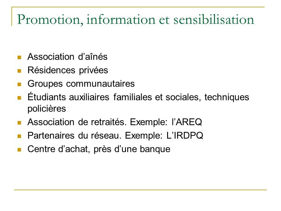 Promotion, information et sensibilisation