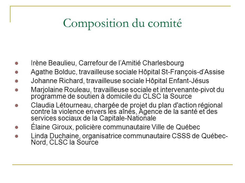 Composition du comité Irène Beaulieu, Carrefour de l'Amitié Charlesbourg. Agathe Bolduc, travailleuse sociale Hôpital St-François-d'Assise.