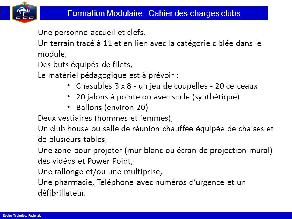Formation Modulaire : Cahier des charges clubs