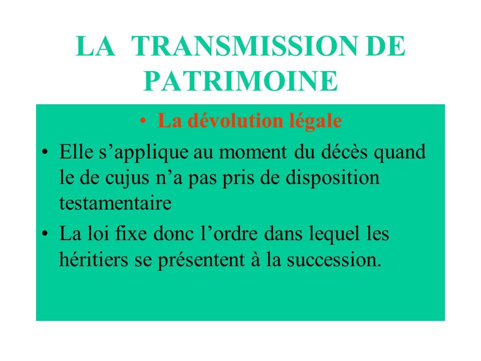 LA TRANSMISSION DE PATRIMOINE