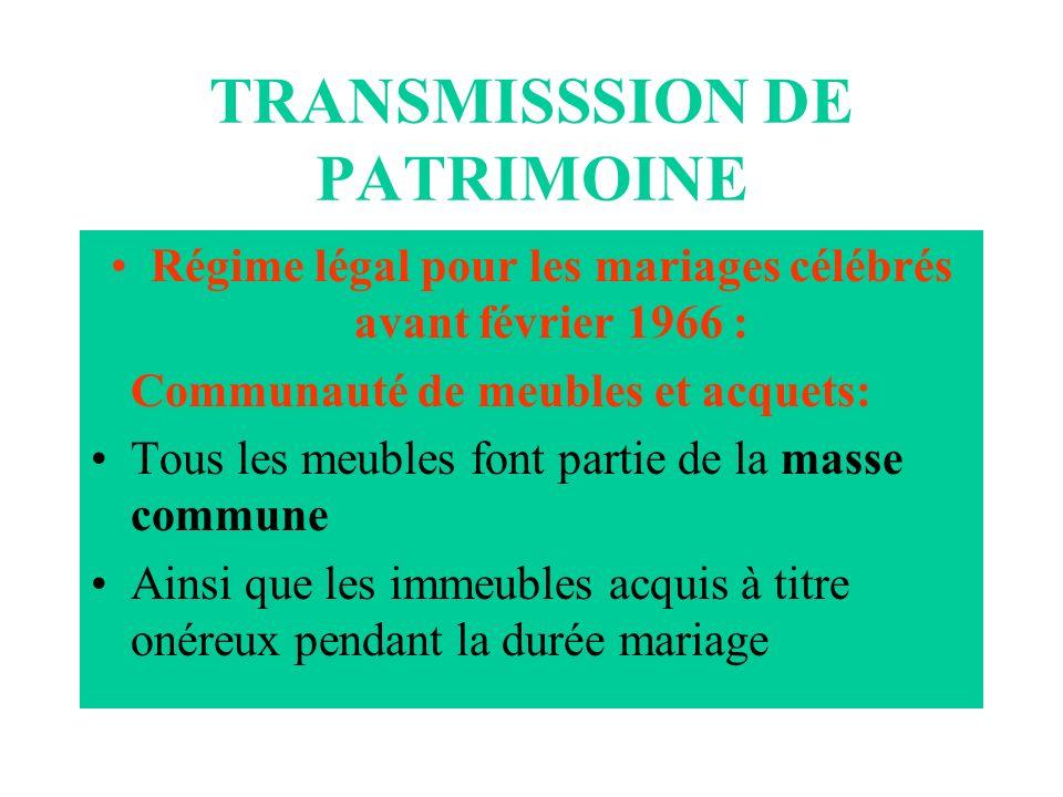 TRANSMISSSION DE PATRIMOINE