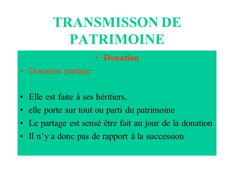 TRANSMISSON DE PATRIMOINE