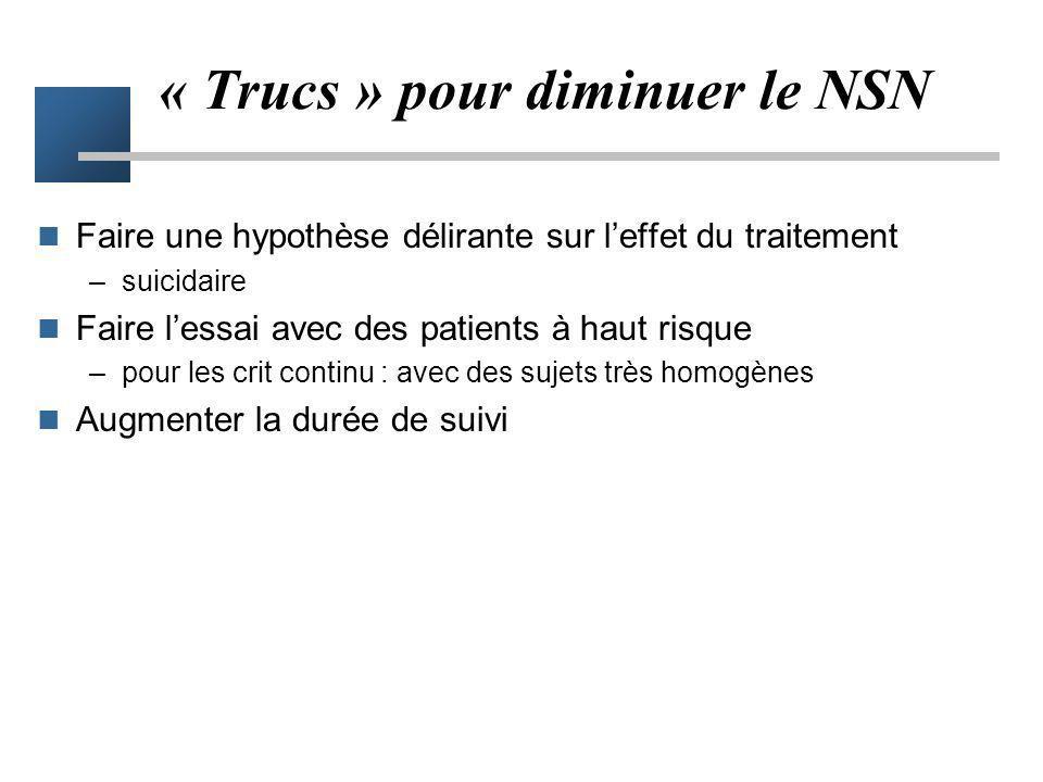 « Trucs » pour diminuer le NSN
