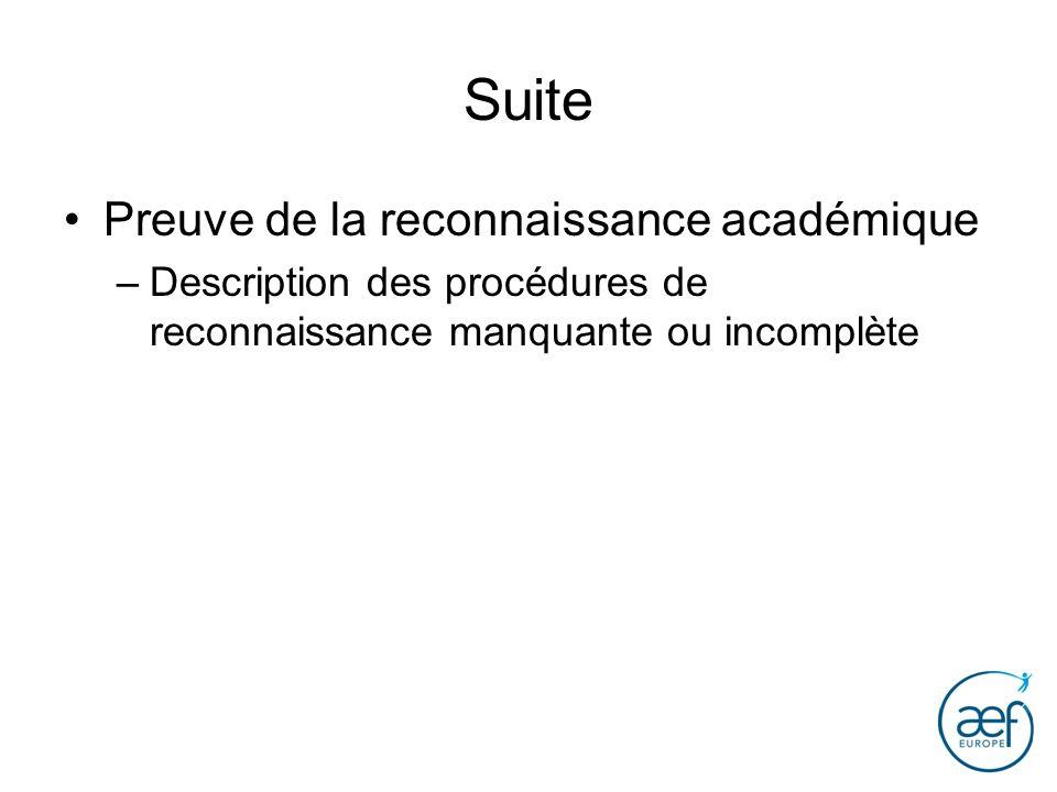 Suite Preuve de la reconnaissance académique