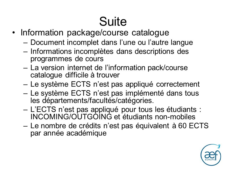 Suite Information package/course catalogue