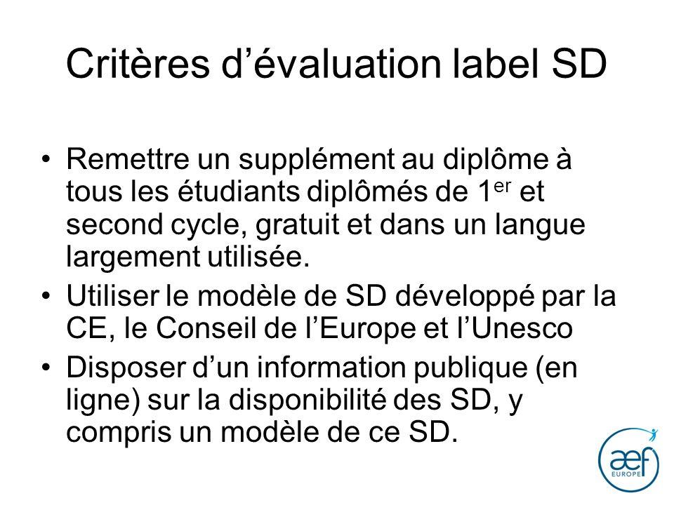 Critères d'évaluation label SD