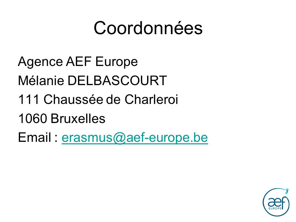 Coordonnées Agence AEF Europe Mélanie DELBASCOURT