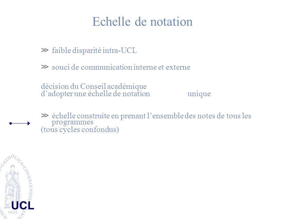 Echelle de notation faible disparité intra-UCL