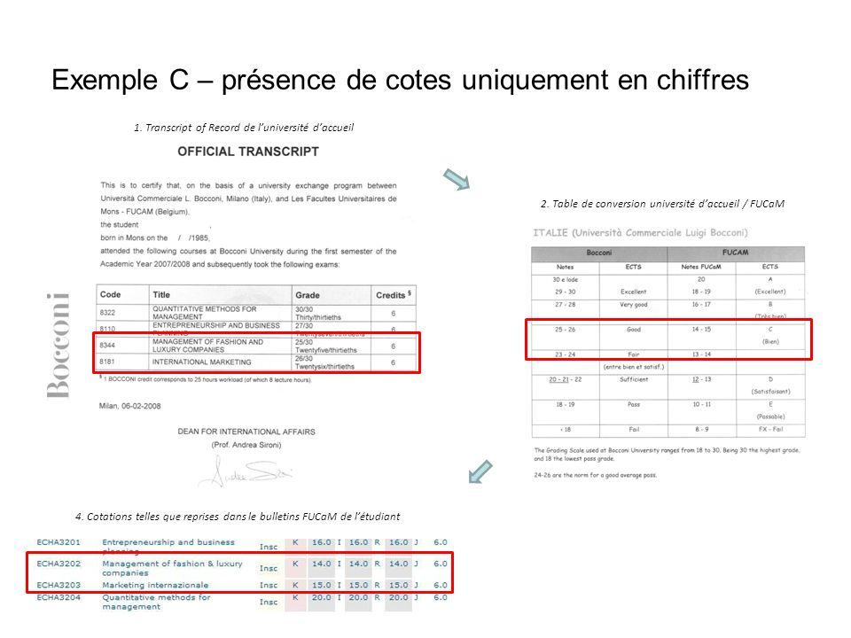Exemple C – présence de cotes uniquement en chiffres