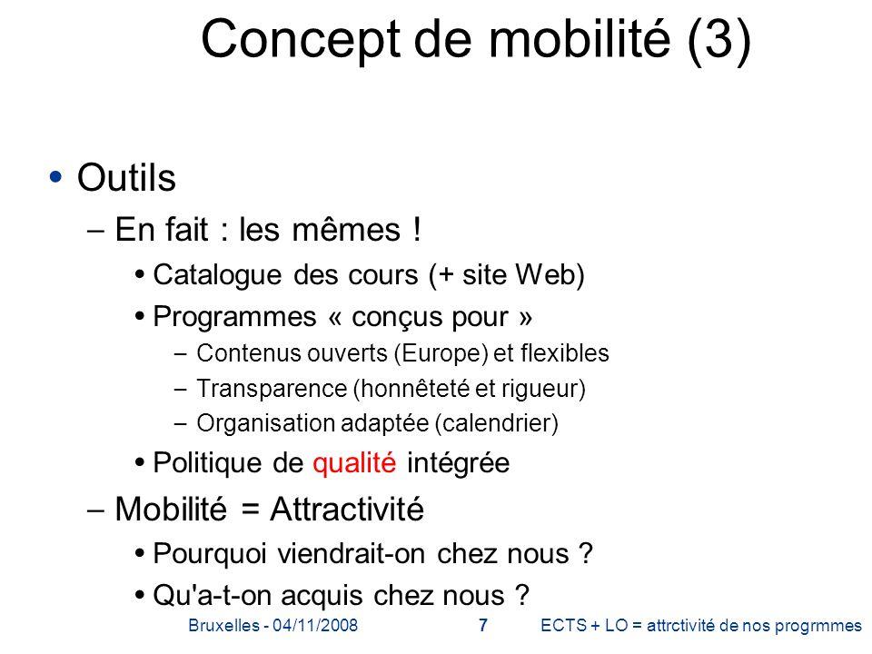 Concept de mobilité (3) Outils En fait : les mêmes !