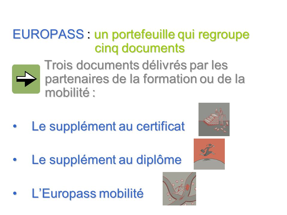 EUROPASS : un portefeuille qui regroupe cinq documents