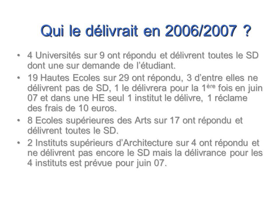 Qui le délivrait en 2006/2007 4 Universités sur 9 ont répondu et délivrent toutes le SD dont une sur demande de l'étudiant.