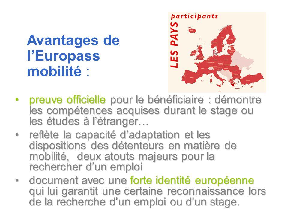 Avantages de l'Europass mobilité :