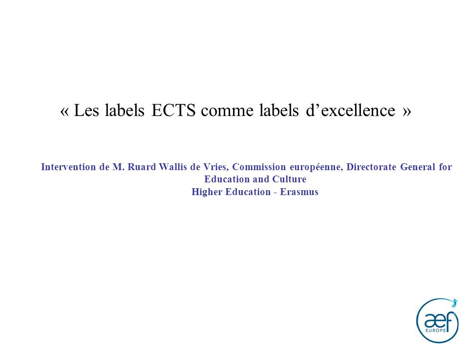 « Les labels ECTS comme labels d'excellence »