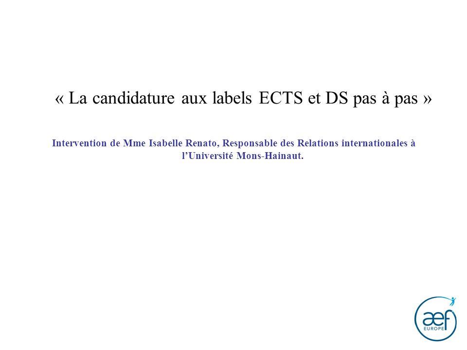 « La candidature aux labels ECTS et DS pas à pas »