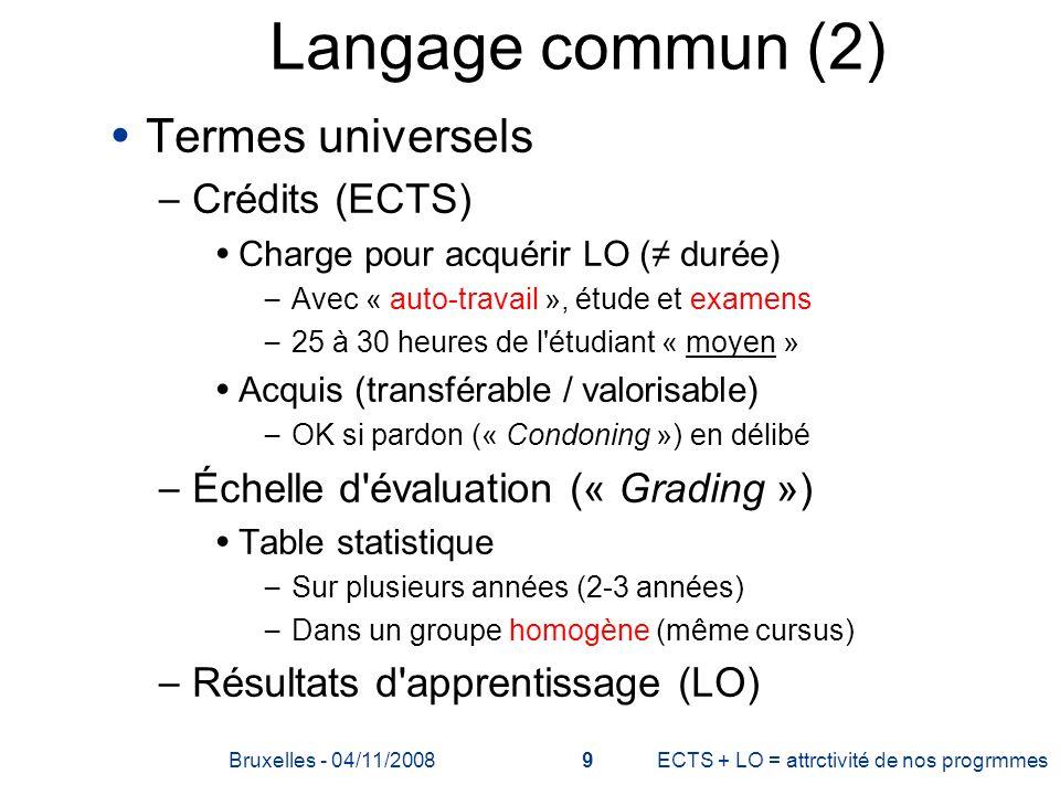 Langage commun (2) Termes universels Crédits (ECTS)