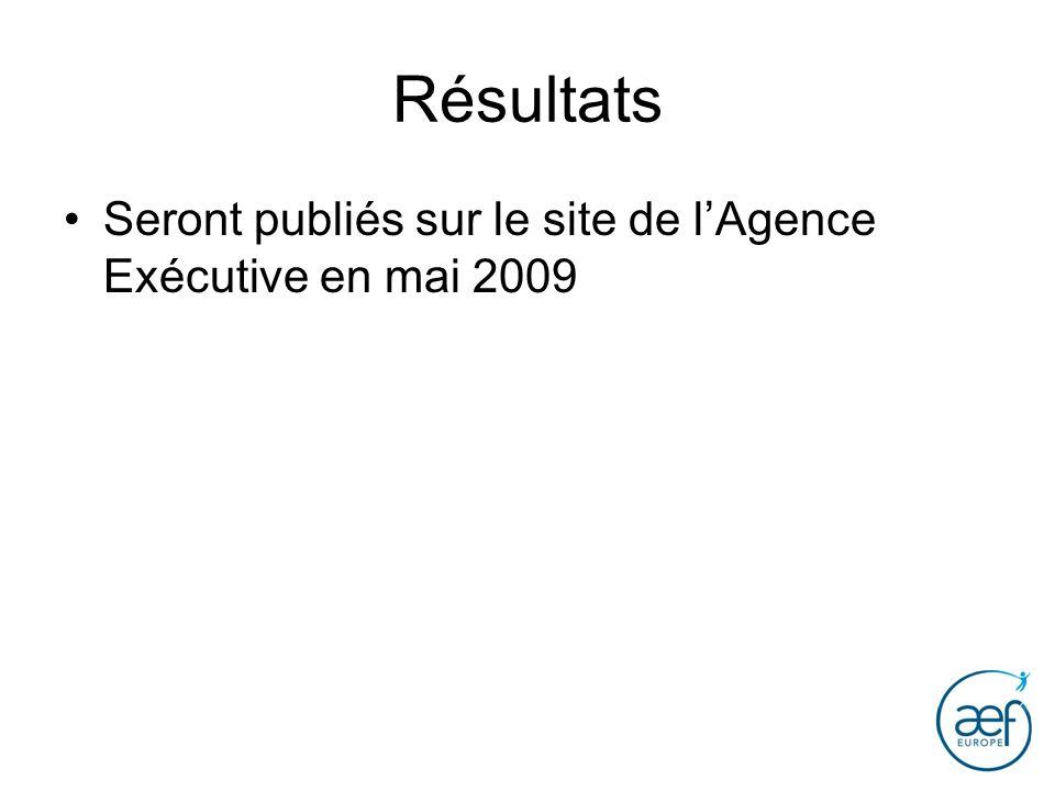 Résultats Seront publiés sur le site de l'Agence Exécutive en mai 2009