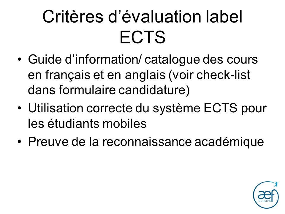 Critères d'évaluation label ECTS