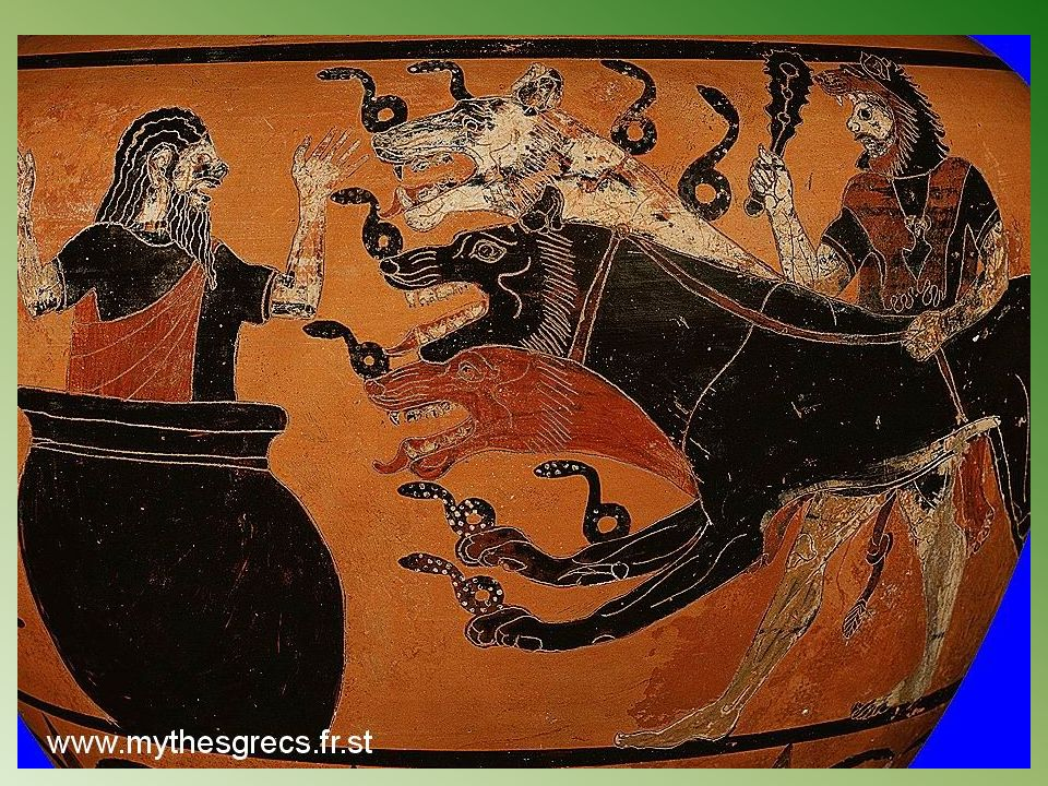 Descendre aux Enfers et en rapporter Cerbère(chien a trois têtes), le gardien des Enfers grecs(dont le dieu est Hadès).
