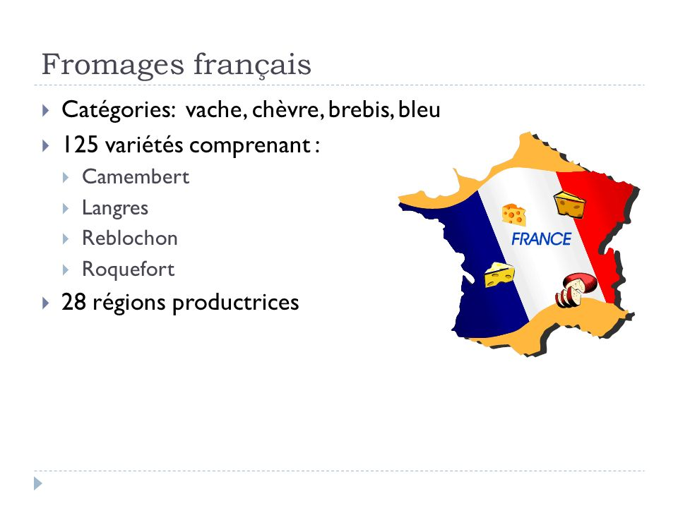 Fromages français Catégories: vache, chèvre, brebis, bleu