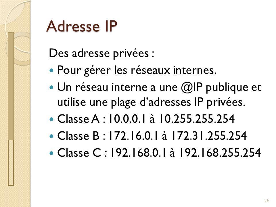 Adresse IP Des adresse privées : Pour gérer les réseaux internes.