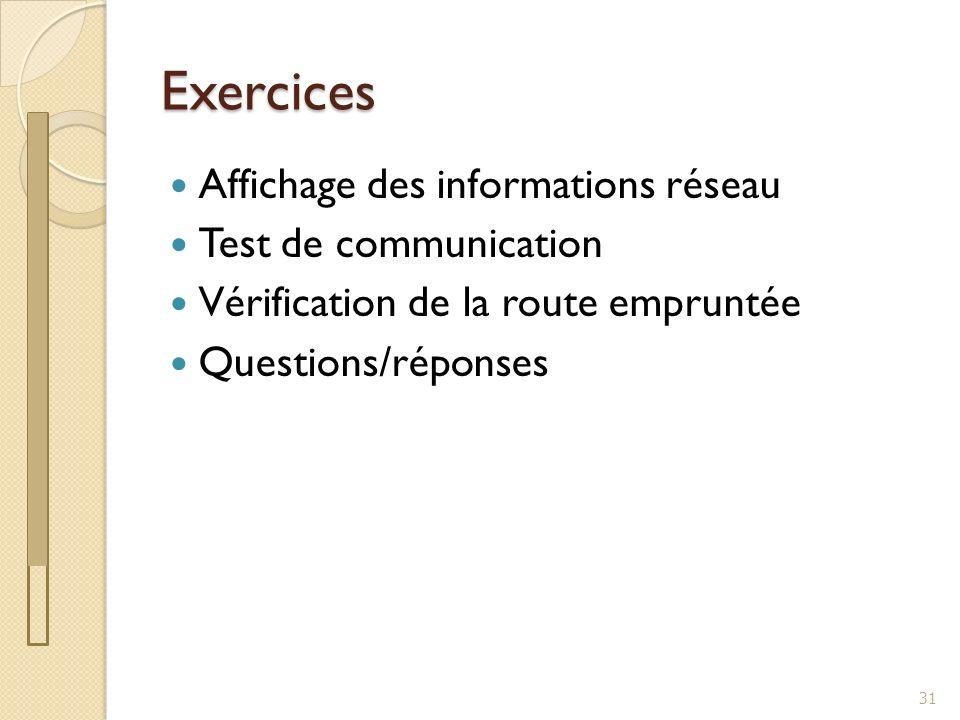 Exercices Affichage des informations réseau Test de communication