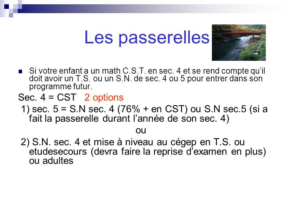 Les passerelles Sec. 4 = CST 2 options