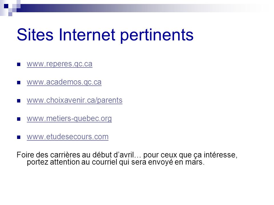 Sites Internet pertinents