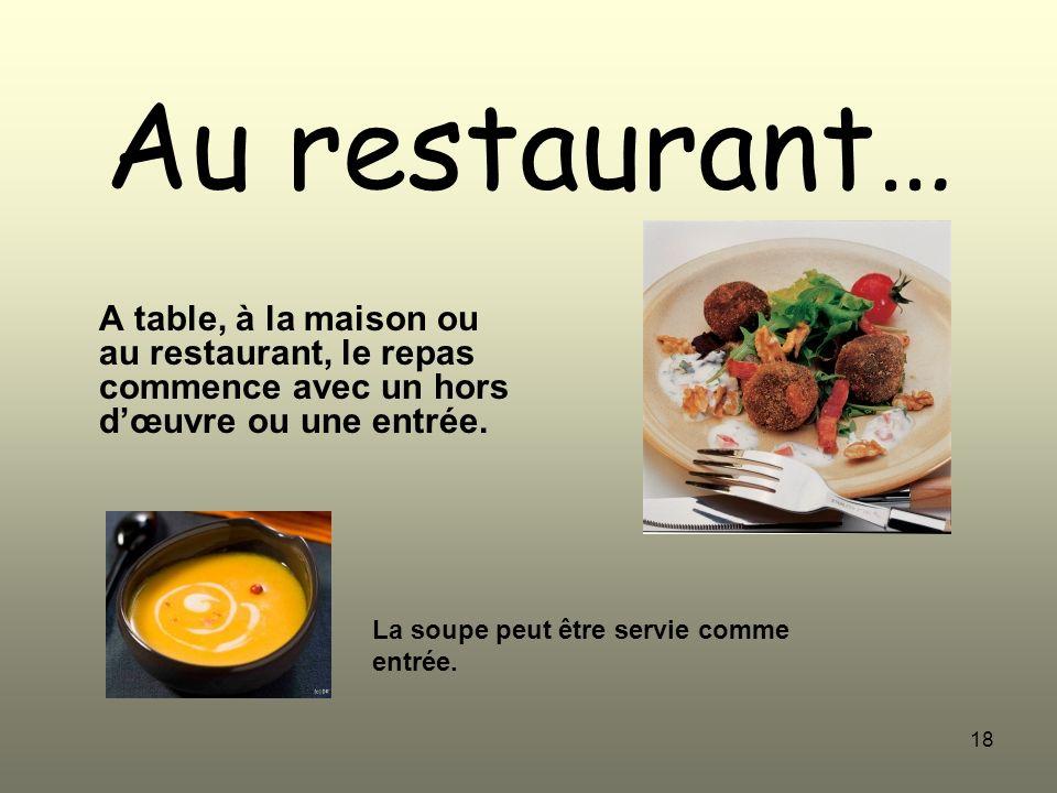 Au restaurant… A table, à la maison ou au restaurant, le repas commence avec un hors d'œuvre ou une entrée.