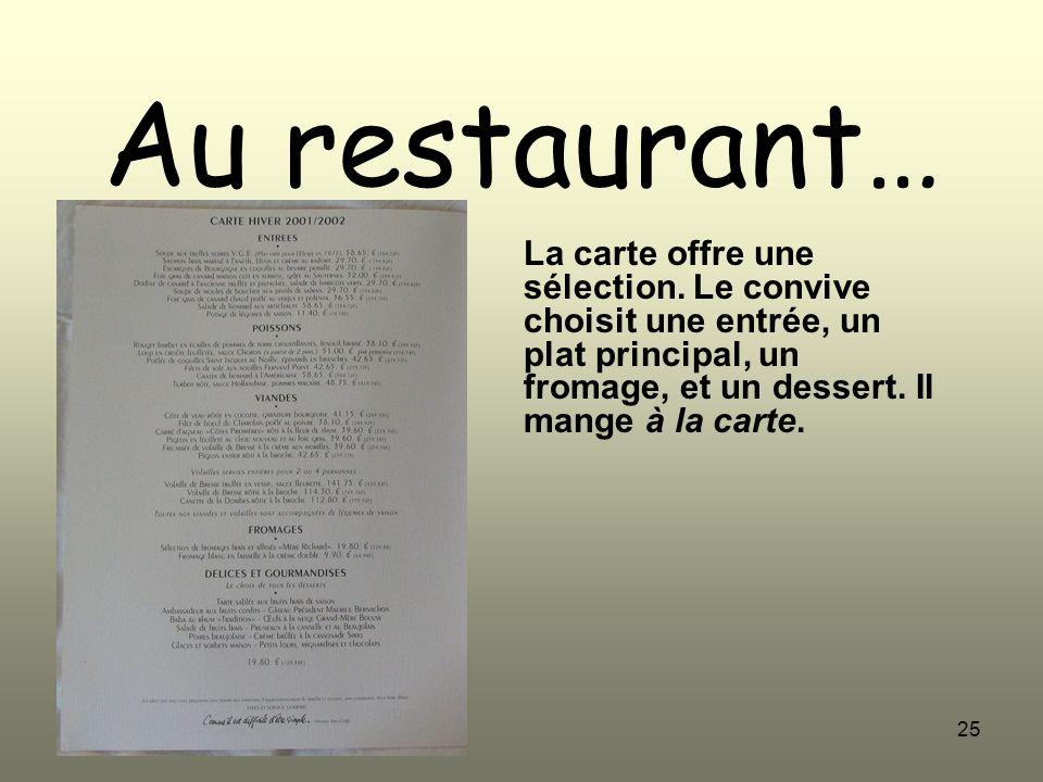 Au restaurant… La carte offre une sélection.