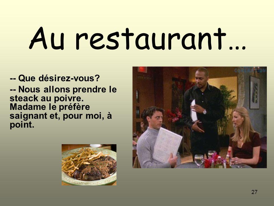 Au restaurant… -- Que désirez-vous