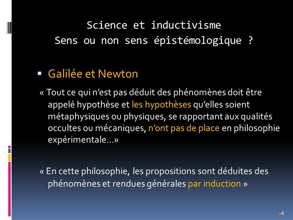 Science et inductivisme Sens ou non sens épistémologique