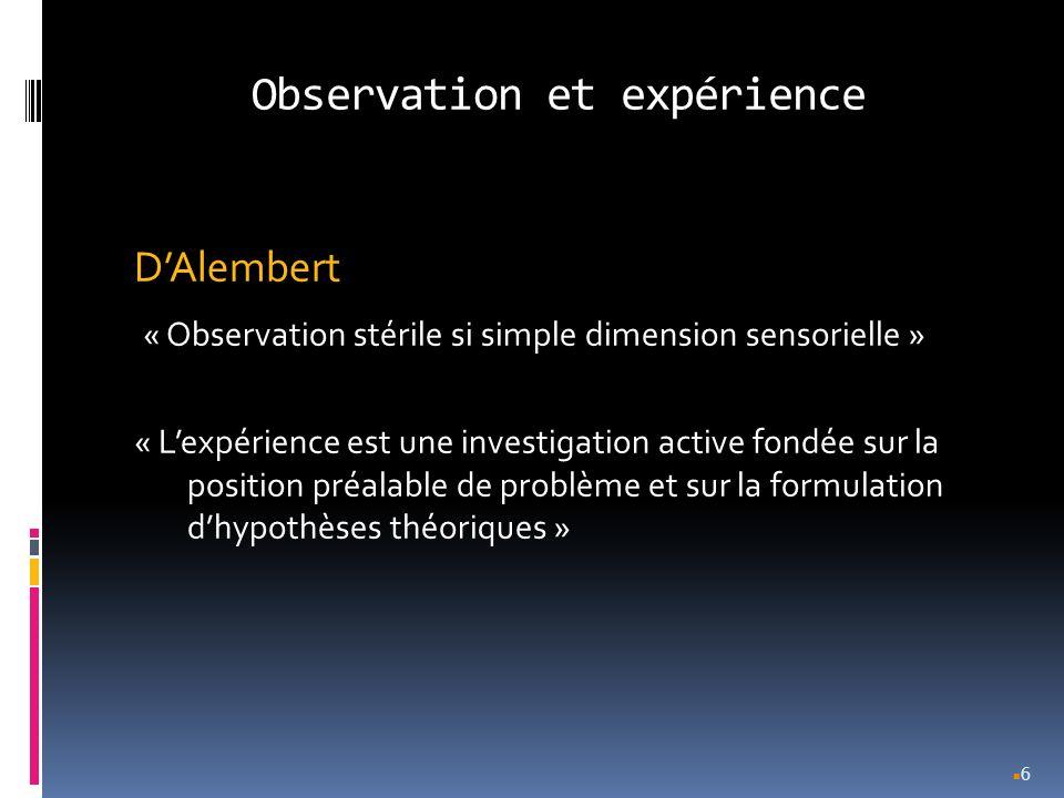 Observation et expérience