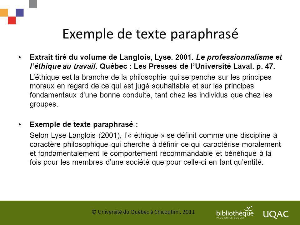 Exemple de texte paraphrasé