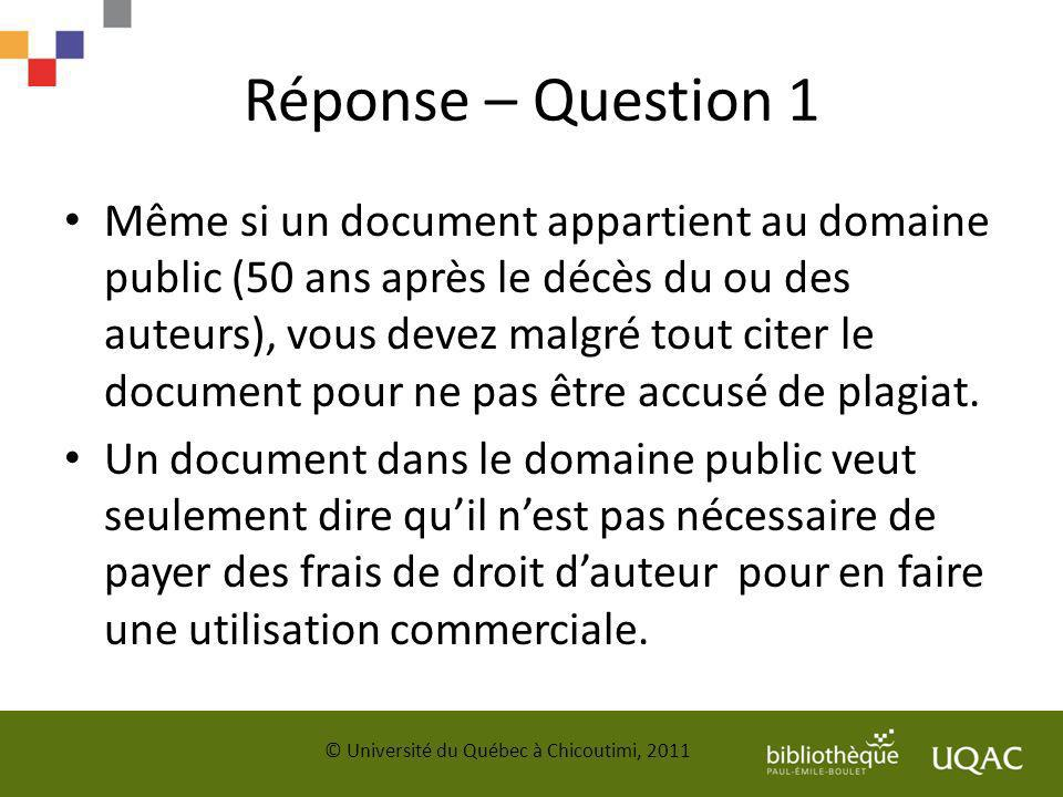 Réponse – Question 1