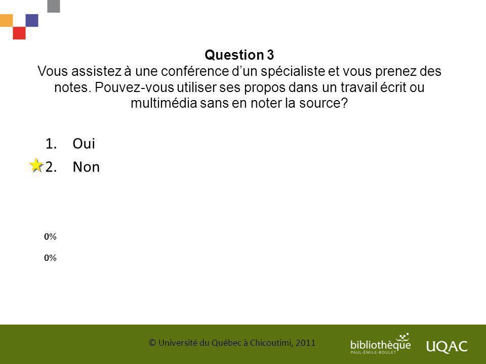 Question 3 Vous assistez à une conférence d'un spécialiste et vous prenez des notes. Pouvez-vous utiliser ses propos dans un travail écrit ou multimédia sans en noter la source