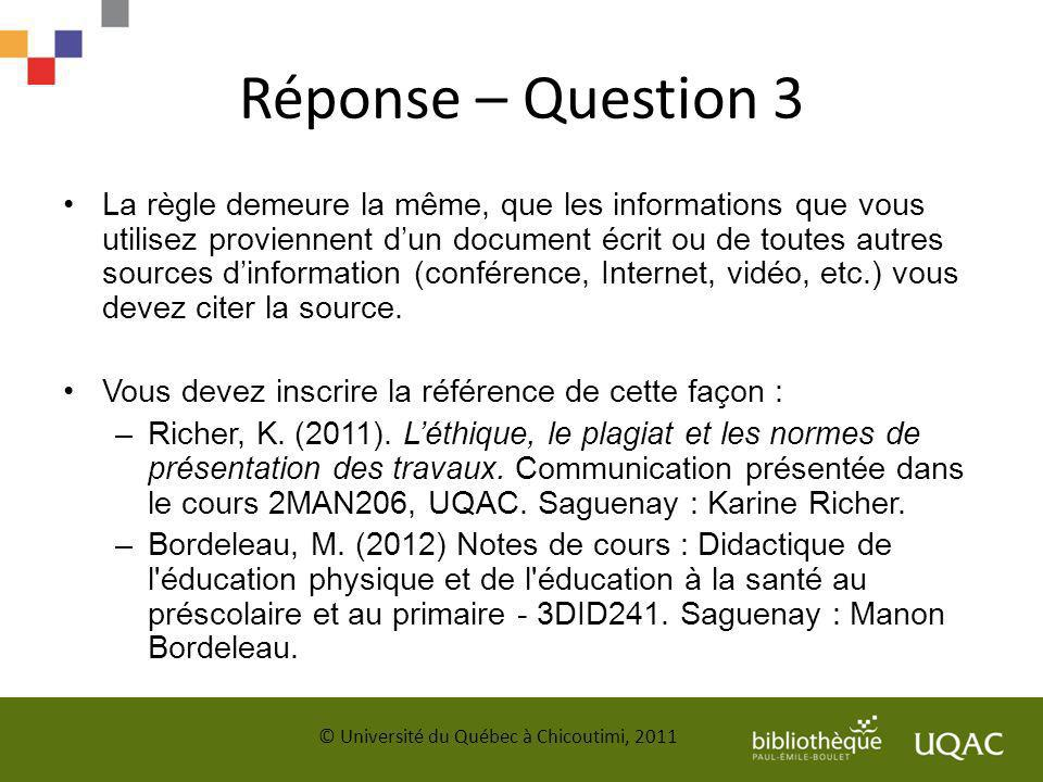 Réponse – Question 3