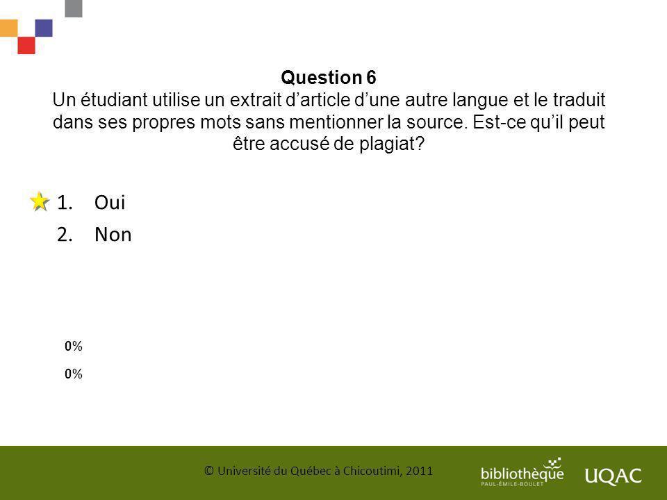 Question 6 Un étudiant utilise un extrait d'article d'une autre langue et le traduit dans ses propres mots sans mentionner la source. Est-ce qu'il peut être accusé de plagiat