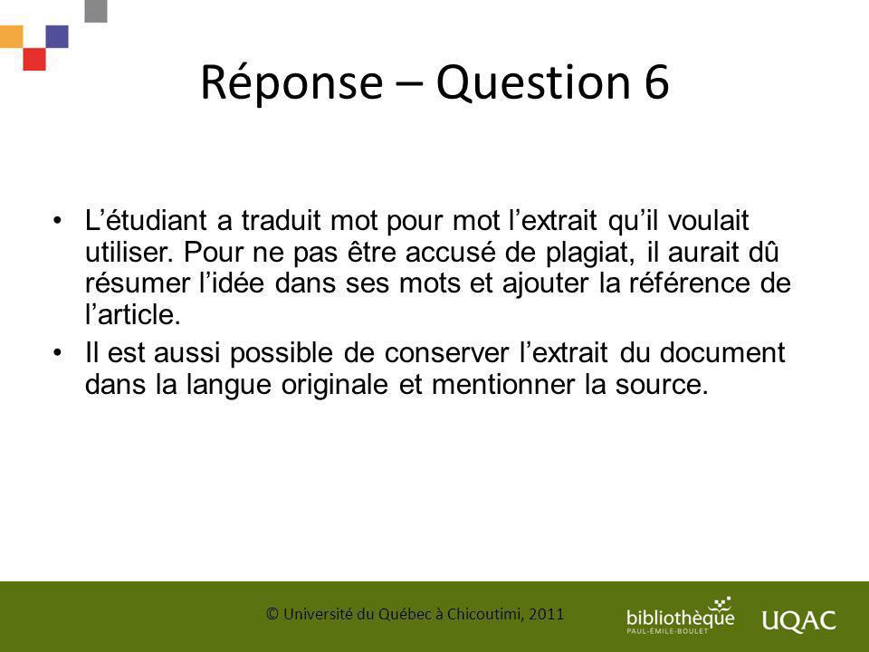 Réponse – Question 6
