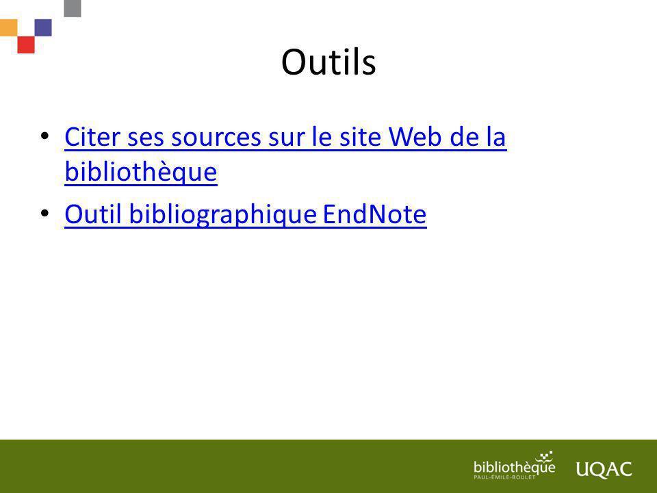 Outils Citer ses sources sur le site Web de la bibliothèque