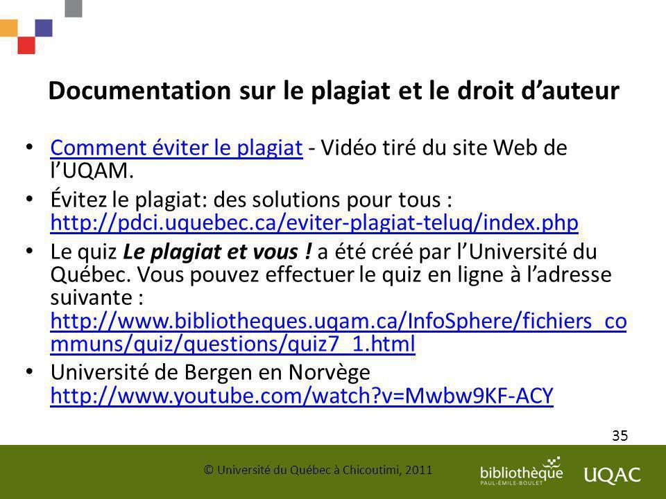 Documentation sur le plagiat et le droit d'auteur