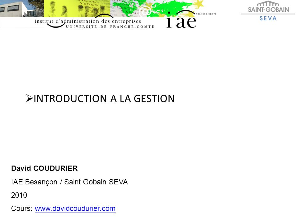 INTRODUCTION A LA GESTION