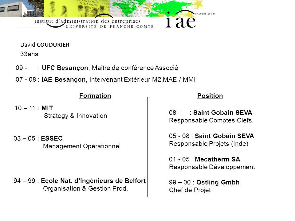 David COUDURIER 33ans. 09 - : UFC Besançon, Maitre de conférence Associé. 07 - 08 : IAE Besançon, Intervenant Extérieur M2 MAE / MMI.